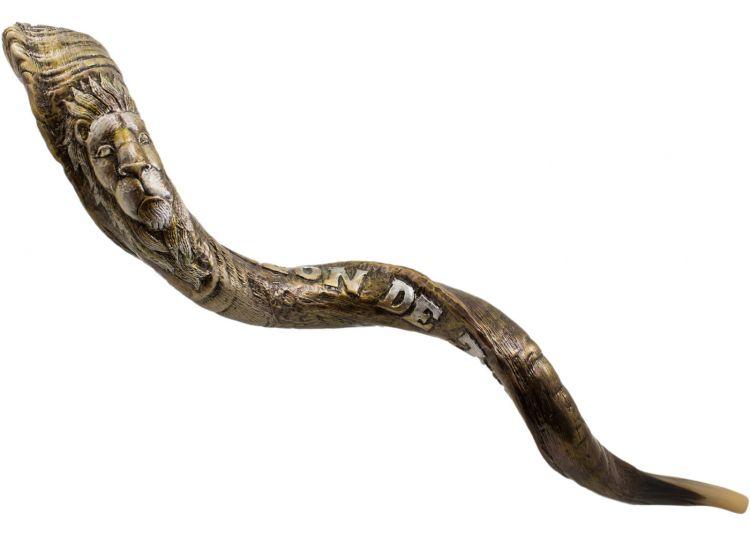 Incre/íble cuerno yemenita Shofar Kudu Lion chapado en plata de 44-45