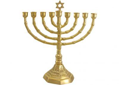 Brass Hanukkah Menorah with Magen David