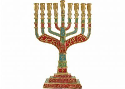 Traditional Multi Colors Brass Chanukah Menorah