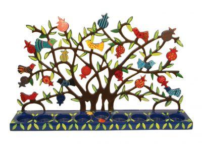 Hanukkah Menorah Painted Laser Cut Pomegranate Tree