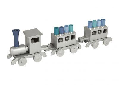 Hanukkah Menorah - Aluminium Train Design with Multicolor Branches