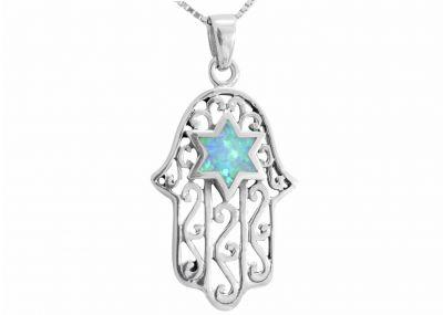 Sterling Silver & Opal Hamsa Pendant