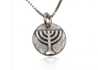 925 Sterling Silver Religious Pendant - Menorah