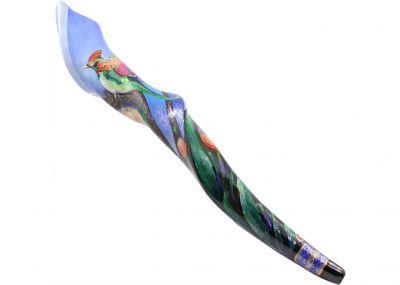 Hand-Painted Eland Shofar - Hummingbird Motif