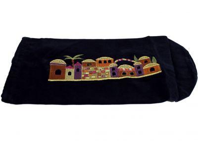 Red Velvet Ram's Horn Pouch - Jerusalem